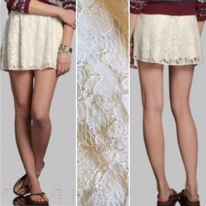 Abercrombie & Fitch Lace Overlay Ivory Mini Skirt